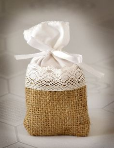 SET OF 50 Natural Rustic Burlap and Linen Wedding Favor Bag or Gift Bag 3x5 inches with lace. $79.00, via Etsy.