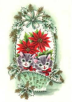 Christmas kittens in a basket with poinsettias