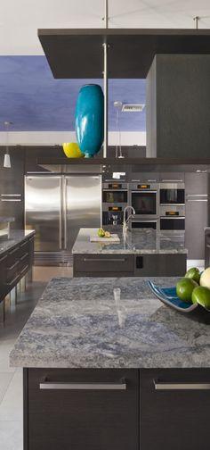 Home 2 - modern - kitchen - miami - Architectural Design Consultants, azul aran granite New Kitchen, Kitchen Decor, Awesome Kitchen, Kitchen Tiles, Kitchen Cabinets, Modern Kitchen Design, Modern Design, Kitchen Contemporary, Kitchen Island With Seating