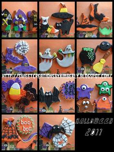 decorated cut out Halloween-themed cookies