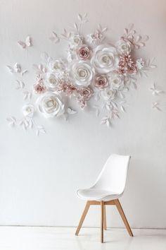 Paper Flower Backdrop Wedding, Flower Wall Wedding, Paper Flower Decor, Flower Wall Decor, Wedding Paper, Flower Decorations, Diy Flower, Wall Flowers, Paper Backdrop