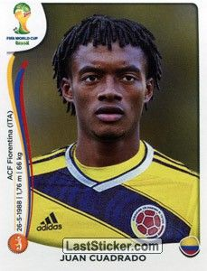 Sticker 196: Juan Cuadrado - Panini FIFA World Cup Brazil 2014 - laststicker.com