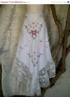 "20% OFF vintage embroidered tablecloth skirt with shabby detail...a work of art 46""  across plus ties....."