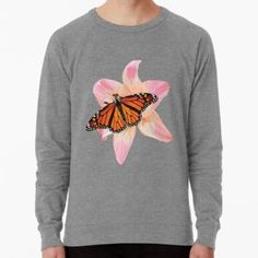'Beautiful low poly Monarch Butterfly on a Pink Lily' Lightweight Sweatshirt by ErinFCampbell Pink Lily, Monarch Butterfly, Low Poly, French Terry, Vintage Inspired, Graphic Sweatshirt, Sweatshirts, Fabric, Plants