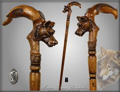 Wolf Under Moon Artisan Intricate Handcarved Cane