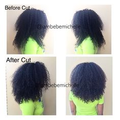 """Nothing worse than """"shelfy layers"""" on curls.  Before and after my signature cut with Bebe Michelle Virgin Extensions! Get the look! Glam Curl wigs with lace closures available now! Email for purchase: iambebemichelle@gmail.com  #iambebemichelle #textureguru #healthyhaircare #naturalhair #celebrityhairstylist #celebritynaturals #curlyhair #kinkyhair #virginhairextensions #bebemichellevirginhairextensions #miamihairstylist"""