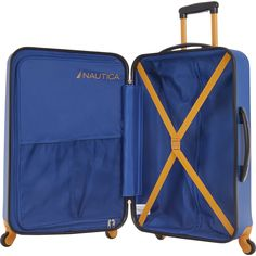 Constructed from diamond texture ABS hardside shell, The Nautica Tide Beach Carry On 21 InchHardside Spinner Suitcaseis extremely durable. Featuring interlock