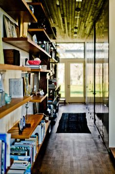narrow corridor, warm and practical