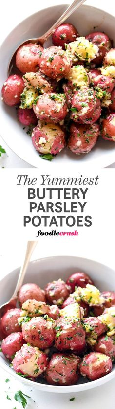 Boiled baby red potatoes get an infusion of butter and parsley to make this super simple side dish one of my all-time favorites for any meal | foodiecrush.com #potatoes #redpotatoes #sidedish