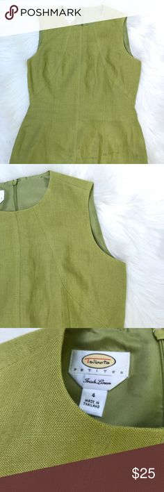 Talbots Petites Irish Linen 👗 Size 4 Like New ▪️Talbots ▪️Versatile and chic dress. Can be worn for job interview, brunch, garden party, wedding reception or under a suit for the office. Classic Lime green can be worn all seasons ▪️Measurements: laying flat Length approx. 36 inches, Armpit to armpit approx. 17 inches waist approx. 15 Inches  ▪️Size 4 Petite  ▪️Bundle and save!   Please see all pics, read description and ask questions before purchasing.  Same day shipping during weekdays…