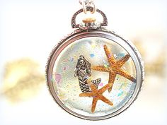 Floating Mermaid Necklace Cast Resin One-of-a-Kind Watch Case Pendant