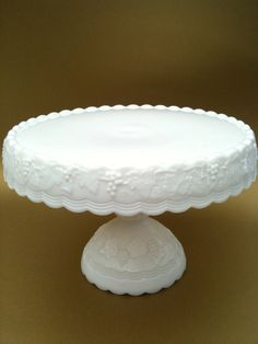 Vintage Milk Glass Cake Plate with Grapes and Leaves. Beautiful!