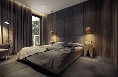 Camere da letto matrimoniale scura e moderna