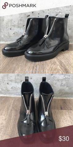 ZARA black boots Super cool ZARA black boots, never worn before!! They are kind of a plastic material on the outside and remind me a little of rubber rain boots, but way cooler 😎 Zara Shoes Ankle Boots & Booties