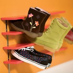 "Easy shoe storage that lets wet sneakers and snow boots air dry...1/2""x3"" boards, L brackets, paint..Space shelves with 3"" L brackets for larger shoes, 2 1/2"" brackets for small children's shoes..."