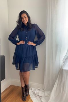 Our favourite 'wear-it-anywhere' dress has arrived. Jennifer wears the Teigan Shift Dress from our Curve range. In a rich navy hue, this dress features on-trend balloon sleeves that make an impact from desk to dinner. Style yours with boots or heels and gold-tone jewellery for a chic look.   Our Curve Collection has been carefully considered to deliver the perfect fit every time for women sizes 16 to 22. Balloon Sleeves, Forever New, Dobby, Hue, Must Haves, Size 16, Perfect Fit, How To Make, How To Wear
