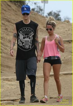Ashley Tisdale wearing Ray-Ban 3025 Aviator sunglasses Gold Frame New Balance 870 Running Sneakers Lululemon Boogie shorts Runyon Canyon in Los Angeles July 20 2013