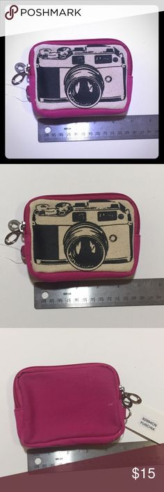 Canvas camera print wristlet Small canvas camera print wristlet with two zip pockets. Sleepyville Critters Bags Clutches & Wristlets