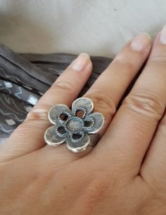 Adjustable antique silver flower ring setting by OlgaeFIMOva, $4.50