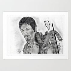 Graphite Daryl, The Walking Dead Art Print by Art By Warren