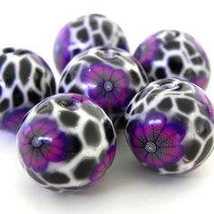 6 Handmade Polymer Clay Beads  Purple Flower Leopard by LavaGifts, $12.00