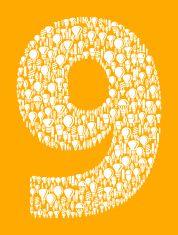 Number Nine on Vector Lightbulb Pattern Background vector art illustration