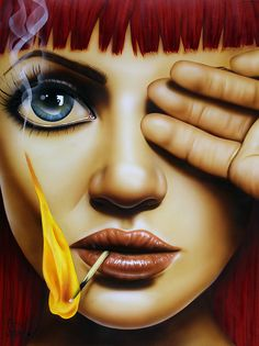 iCanvas Playing With Fire (Red) Gallery Wrapped Canvas Art Print by Scott Rohlfs Art Beat, Arte Pop, Evvi Art, Arte Lowbrow, Pop Art, Modelos Fashion, Digital Art Girl, Face Art, Art Pictures