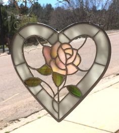 Stained Glass Rose and Heart Sun-Catcher