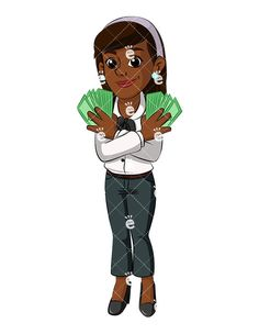 A Standing Black Businesswoman Showing Off Her Cash While Smiling:  #99percent #abundance #abundant #accomplished #achieved #adorable #affiliate #affluent #african #african-american #american #attractive #black #blowhard #boaster #booming #boughtout #brag #braggart #bragging #bullishmarket #business #businesswoman #cartoon #CEO #character #clipart #comfortable #content #corporate #curvy #cute...