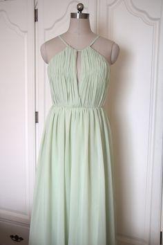 Mint Green Long Halter Bridesmaid Dress Floor-length by AlexDress $89 custom colors