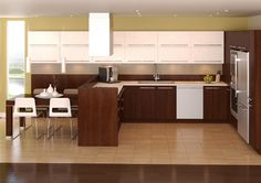Instant Contemporary Kitchen in Brown and White with Kelowna Doors