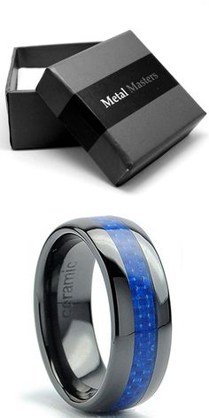 8MM Dome Men's Black Ceramic Ring Wedding Band With Blue Carbon Fiber Inlay Size 10