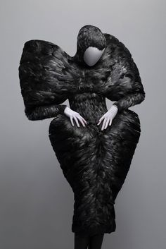 Black Feather dress. A. McQueen. Savage Beauty.