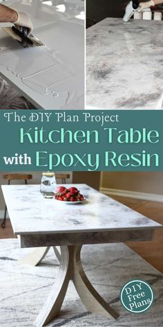 I wanted to design a DIY Kitchen Table for our house that is built from basic construction lumber but has a different look than just a standard farmhouse style. The best part of this project is to make the marble stone coat epoxy. Learn how to build a DIY Kitchen Table with Epoxy Resin. Printable PDF is available with step by step tutorial and 3D illustrations. | Creative Woodworking Ideas | Best Selling Wood projects | Wood Working for Beginners #freeplans #woodworking #diytable…