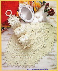 Crochê da Reh: Jogo de Banheiro Crú Com Flores