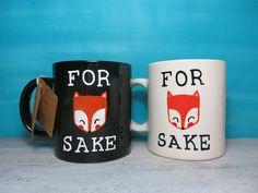 For Fox (drawing) Sake black/white coffee mug - funny mug, fox mug, cartoon mug, gift by CoralBel on Etsy
