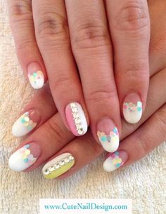 Pastel x White Spring nails by CuteNailDesigns - Nail Art Gallery