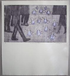 Grabado de Ana Valenciano disponible en la galería online de FLECHA, precio 200€.  Mas info: http://www.flecha.es/Comprar-obras-de-Ana-Valenciano/Grabado-La-salida-del-colegio/674/