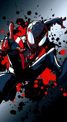 Miles Morales - Ultimate Spider-Man, Into the Spider-Verse Amazing Spiderman, Spiderman Pictures, Black Spiderman, Spiderman Art, Chibi Marvel, Marvel Art, Marvel Heroes, Ps Wallpaper, Miles Morales Spiderman