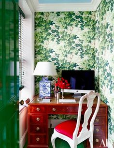 Your Home Office Could Be Dangerous For Your Health nick-olsen-designed-brooklyn-brownstone-article-home-office-architectural-digest - ivy wallpaper from Zoffany House Design, House Interior, Home, Office Nook, Interior, Home Office Design, Home Decor, Tiny Office, Office Design