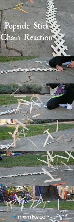 Popsicle stick chain reaction - kids would love this as a way to study potential and kinetic energy!