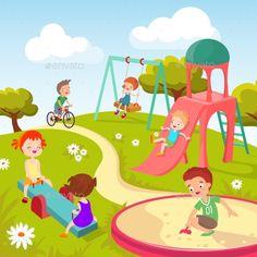 Cute children at playground. Happy children playing in summer park vector background. Kindergarten with boy and girl, illustration