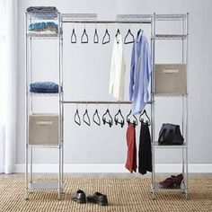 This free standing closet system is the perfect way to organize a closet especially if you rent Wire Storage, Modular Storage, Storage Spaces, Storage Units, Closet Rod, Closet Storage, Closet Organization, Organization Ideas, Bedroom Storage