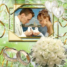 Wedding photo collage frame. Click to put your own wedding picture in it, save and share for free! I love Imikimi, they have millions of photo frames like this.   #weddingframe #photography #white #green #weddingrings