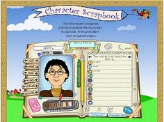 interactive character scrapbook creator. Students can use it to analyze a character from a book.
