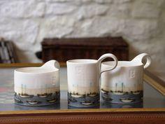 Stoneware Pottery mug, Coffee Mug, Hand painted mug, Pottery mug with boats, White and blue mug, Vintage mug, Ceramics and Pottery by DankoHandmade on Etsy https://www.etsy.com/listing/228126135/stoneware-pottery-mug-coffee-mug-hand