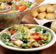 Olive Garden salad and breadsticks yumm...
