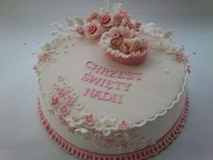 Tort na Chrzest Baby Cakes, Girl Cakes, Baby Shower Cakes, Communion, Christening, Desserts, Food, Ballet Dancers, Punto Croce