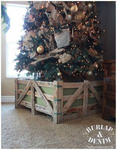 diy christmas tree stand made from a repurposed stone shipping crate - Baby Gate For Christmas Tree