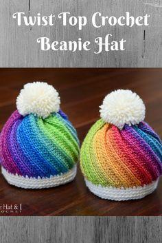 b2139a997d6 Twist top crochet beanie hat.  crochethat  twisttophat  crochettwisttop   crochet  ad